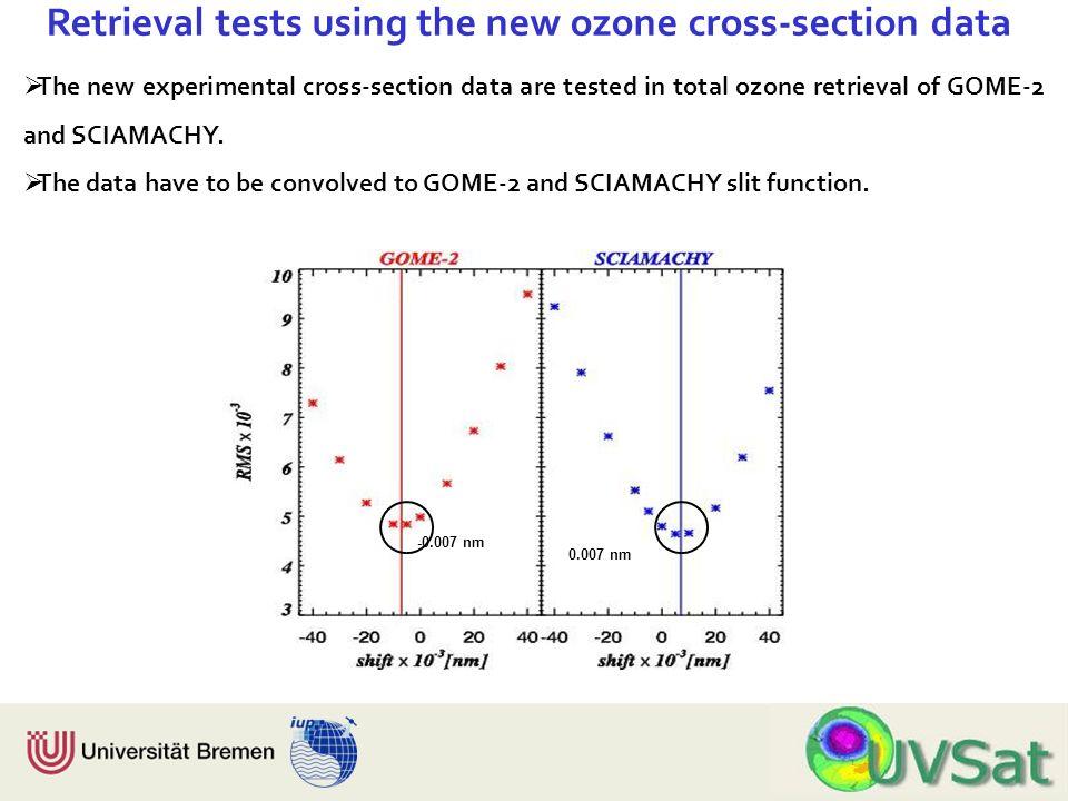 Physik Fachbereich 1 Institut für Umweltphysik Retrieval tests using the new ozone cross-section data The new experimental cross-section data are test