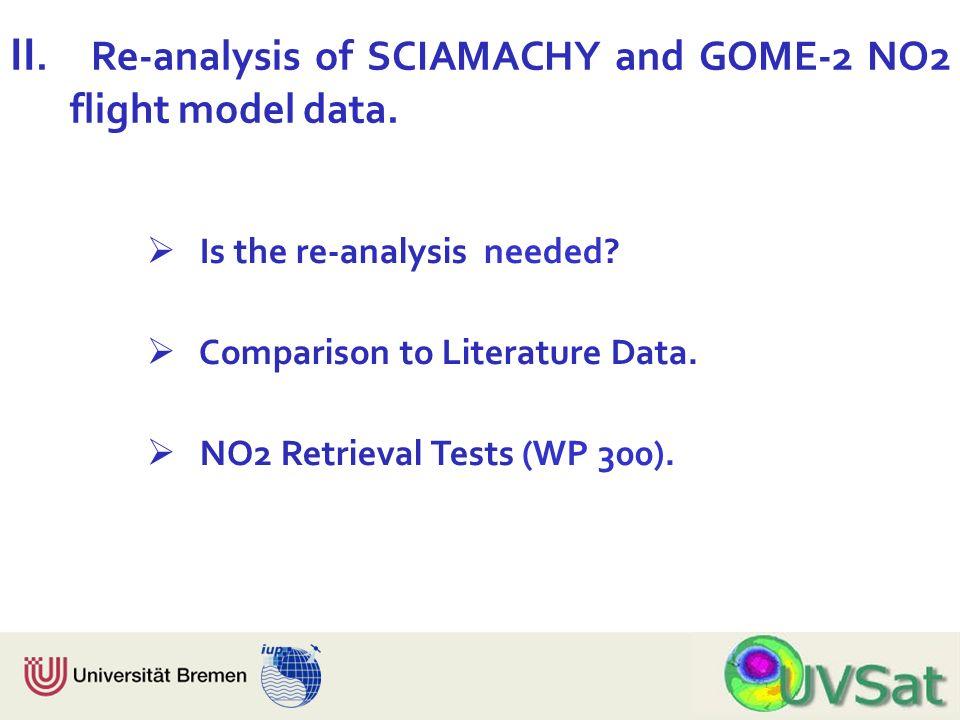 Physik Fachbereich 1 Institut für Umweltphysik Is the re-analysis needed? Comparison to Literature Data. NO2 Retrieval Tests (WP 300). II. Re-analysis