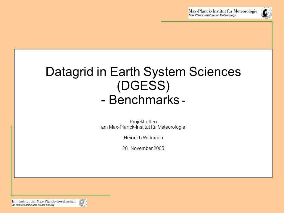 Datagrid in Earth System Sciences (DGESS) - Benchmarks - Projektreffen am Max-Planck-Institut für Meteorologie Heinrich Widmann 28. November 2005