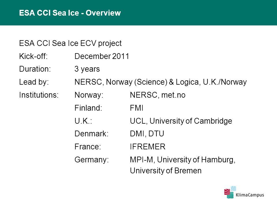 ESA CCI Sea Ice – Breakdown of work ESA CCI Sea Ice ECV project structure