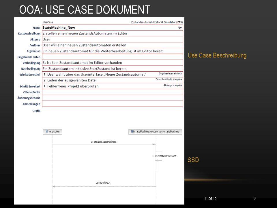 OOA: USE CASE DOKUMENT Use Case Beschreibung SSD 11.06.10 6