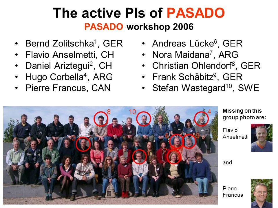 The active PIs of PASADO PASADO workshop 2006 Bernd Zolitschka 1, GER Flavio Anselmetti, CH Daniel Ariztegui 2, CH Hugo Corbella 4, ARG Pierre Francus