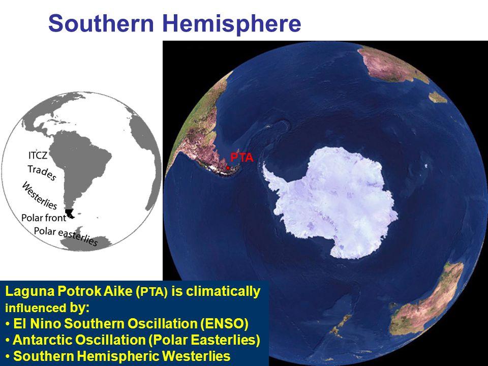 Southern Hemisphere LGM PTA Laguna Potrok Aike ( PTA) is climatically influenced by: El Nino Southern Oscillation (ENSO) Antarctic Oscillation (Polar
