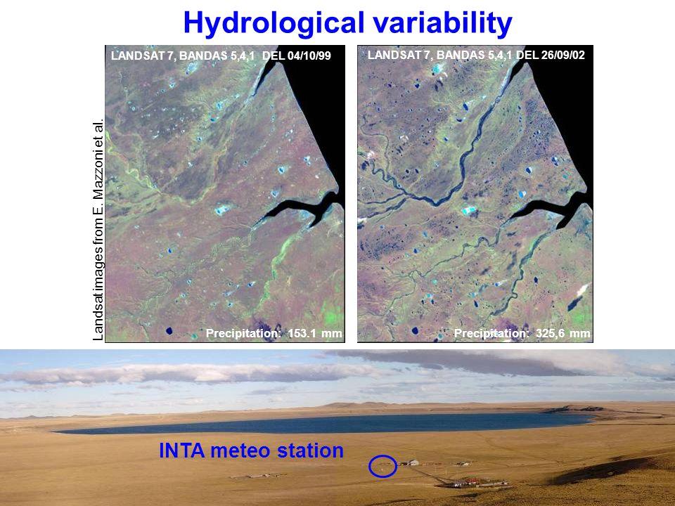 LANDSAT 7, BANDAS 5,4,1 DEL 04/10/99 Landsat images from E. Mazzoni et al. Precipitation: 153.1 mm LANDSAT 7, BANDAS 5,4,1 DEL 26/09/02 Precipitation: