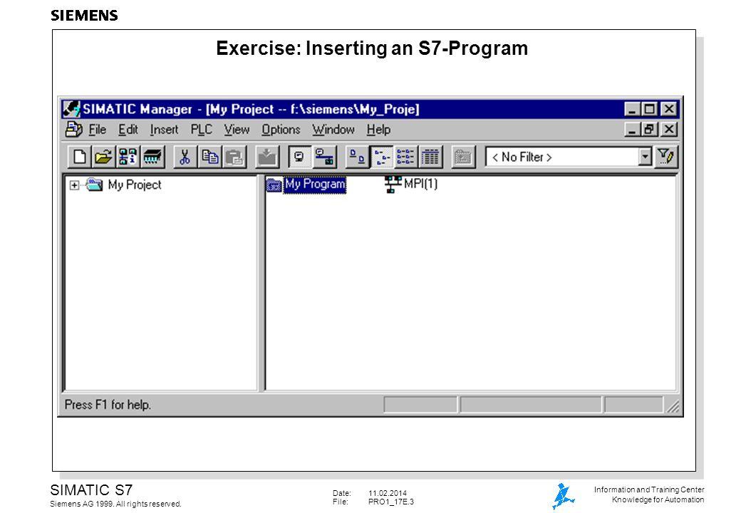 Date:11.02.2014 File: PRO1_17E.54 SIMATIC S7 Siemens AG 1999.