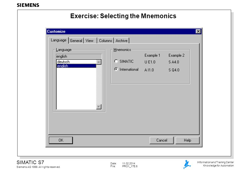 Date:11.02.2014 File: PRO1_17E.7 SIMATIC S7 Siemens AG 1999.