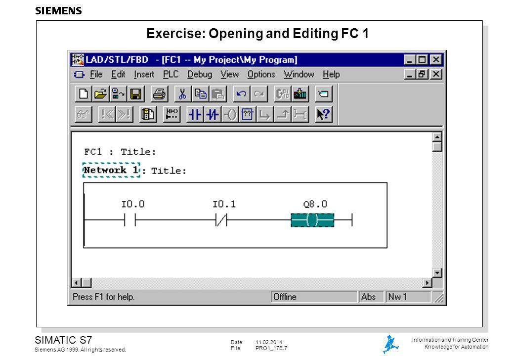 Date:11.02.2014 File: PRO1_17E.8 SIMATIC S7 Siemens AG 1999.