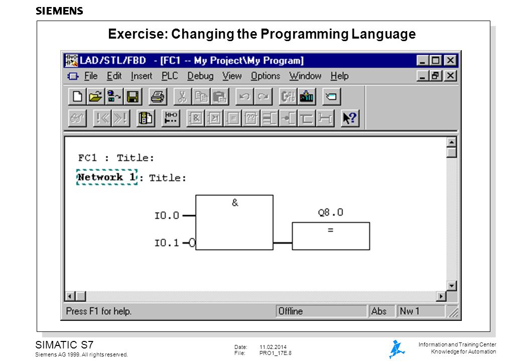 Date:11.02.2014 File: PRO1_17E.9 SIMATIC S7 Siemens AG 1999.
