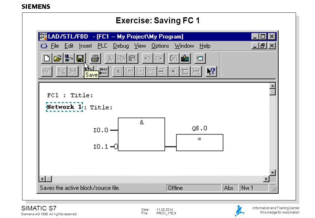 Date:11.02.2014 File: PRO1_17E.20 SIMATIC S7 Siemens AG 1999.