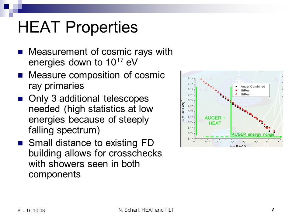 N. Scharf: HEAT and TILT7 8. - 16.10.08 HEAT Properties Measurement of cosmic rays with energies down to 10 17 eV Measure composition of cosmic ray pr