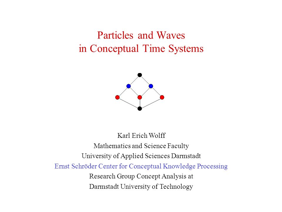 Particles and Waves in Conceptual Time Systems Karl Erich Wolff Mathematics and Science Faculty University of Applied Sciences Darmstadt Ernst Schröder Center for Conceptual Knowledge Processing Research Group Concept Analysis at Darmstadt University of Technology