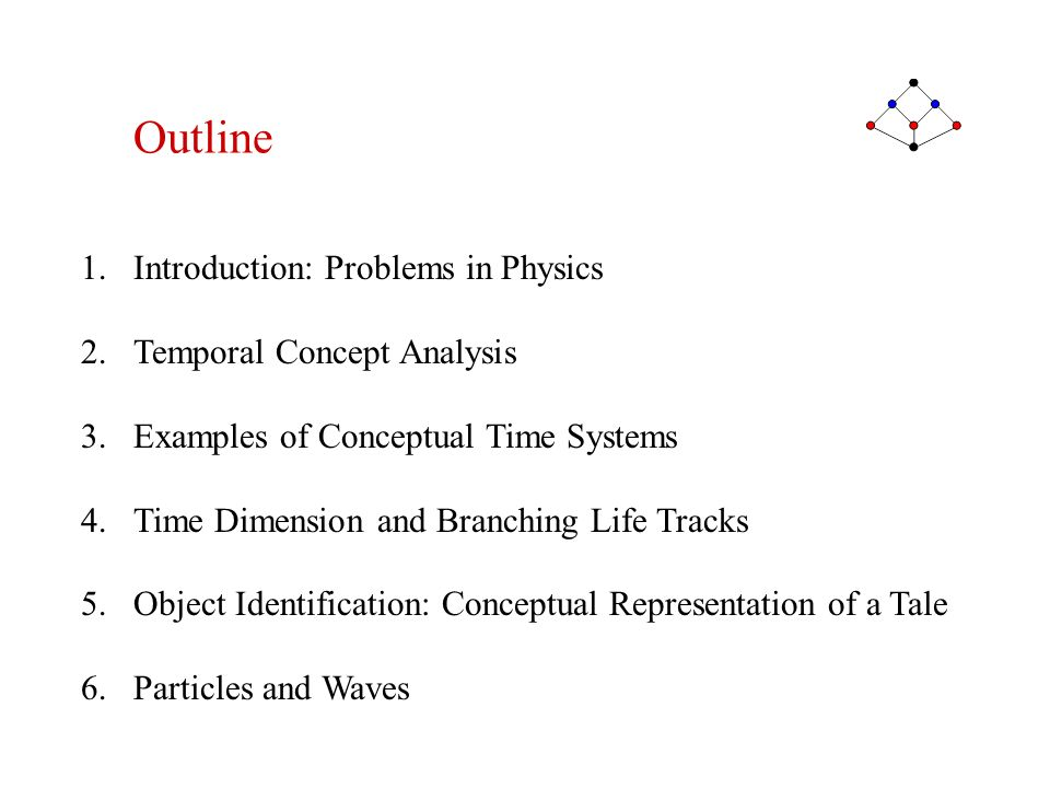 1.Introduction: Problems in Physics 2.Temporal Concept Analysis 3.Examples of Conceptual Time Systems 4.Time Dimension and Branching Life Tracks 5.Obj