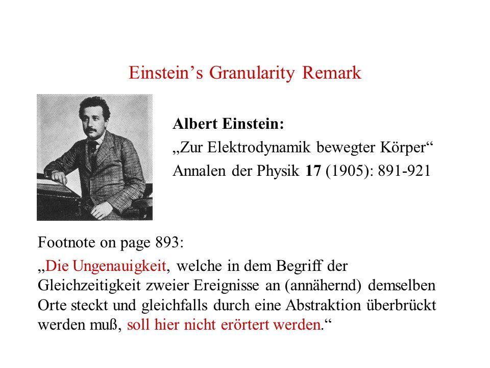 Einsteins Granularity Remark Albert Einstein: Zur Elektrodynamik bewegter Körper Annalen der Physik 17 (1905): 891-921 Footnote on page 893: Die Ungen