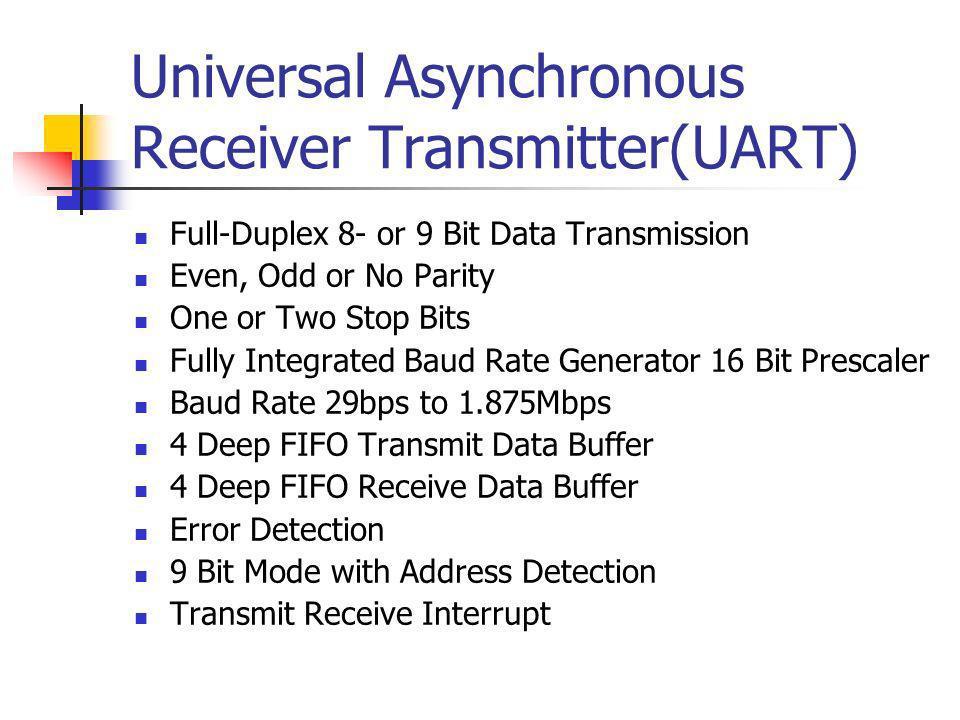 UART Register Control Register: UxMode Enable, Alterative IO Pins, Parity Data Selection … Status and Control Register: UxSTA Transmit Enable, Address Detect Mode, Error Detection, Buffer Overflow, Transmit Buffer Full … Receive Register: UxRXREG Example: unsigned char c = U1RXREG; Transmit Register: UxTXREG Example: U1TXREG = c ; Baud Rate Generator: UxBRG