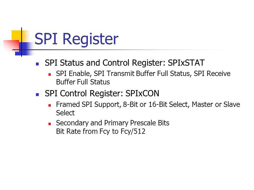 SPI Register SPI Status and Control Register: SPIxSTAT SPI Enable, SPI Transmit Buffer Full Status, SPI Receive Buffer Full Status SPI Control Registe