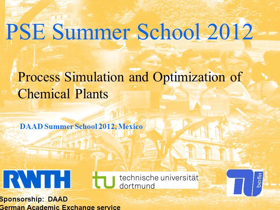 www.dbta.tu-berlin.de info@dbta.tu-berlin.de d|b|t|a Fachgebiet Dynamik und Betrieb technischer Anlagen 1 1 PSE Summer School 2012 Process Simulation