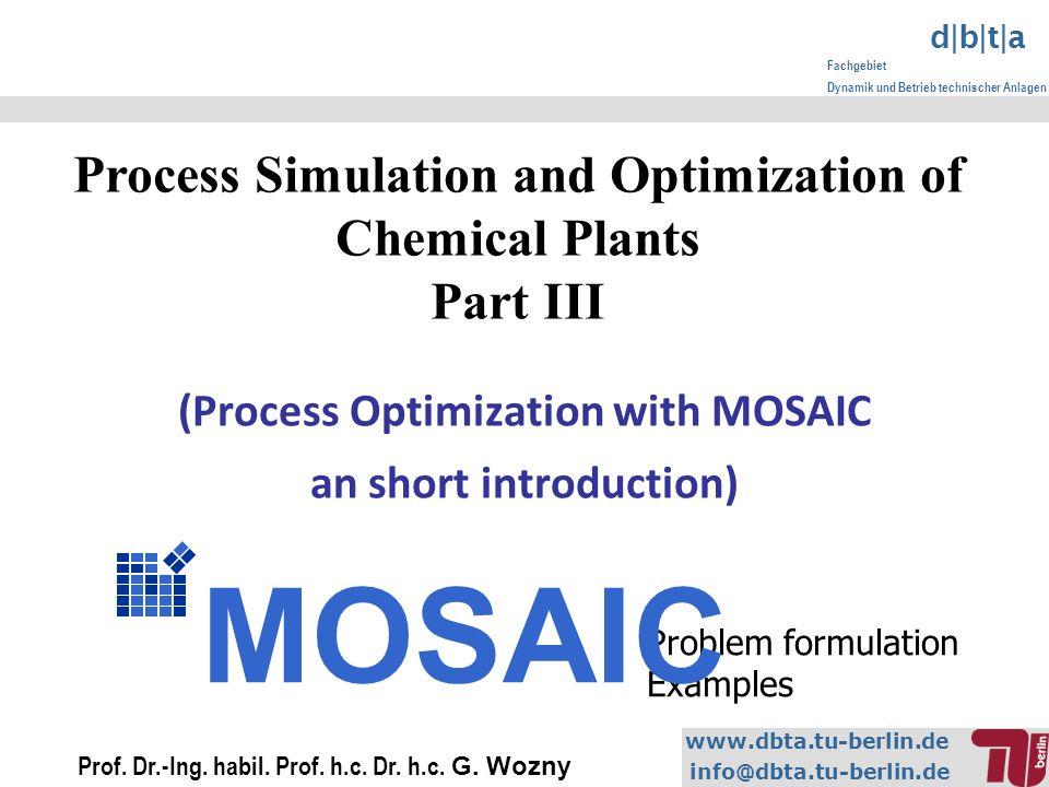 www.dbta.tu-berlin.de info@dbta.tu-berlin.de d|b|t|a Fachgebiet Dynamik und Betrieb technischer Anlagen (Process Optimization with MOSAIC an short introduction) Prof.