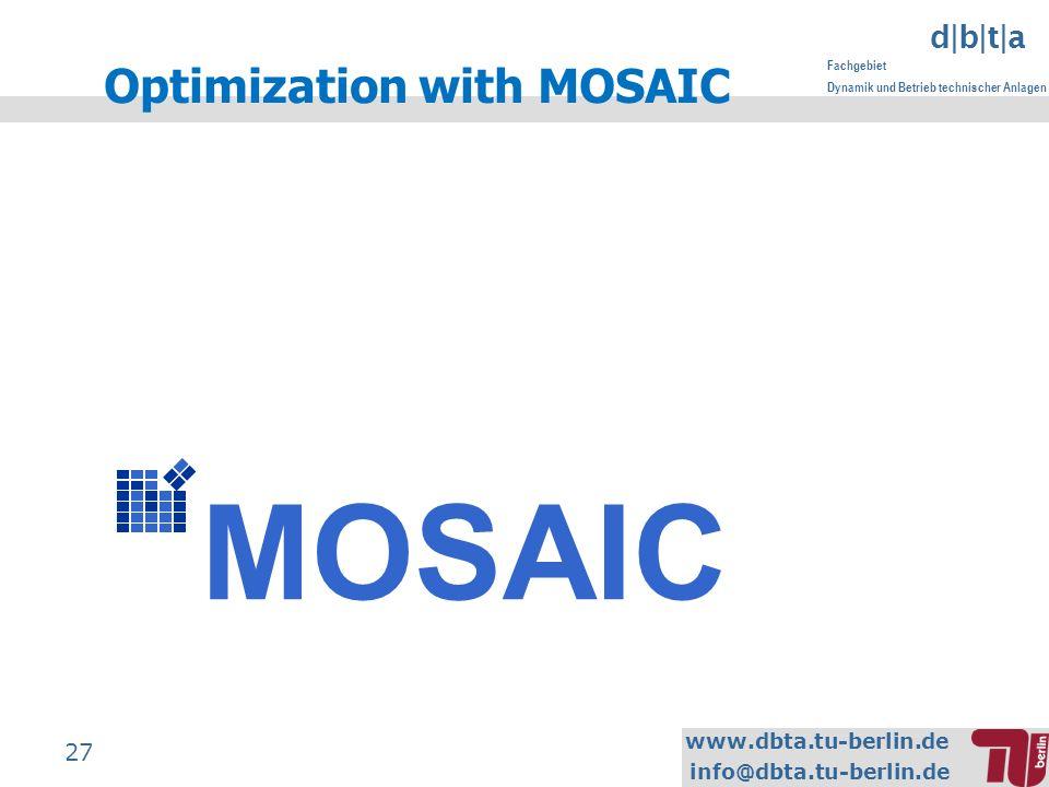 www.dbta.tu-berlin.de info@dbta.tu-berlin.de d|b|t|a Fachgebiet Dynamik und Betrieb technischer Anlagen 27 MOSAIC Optimization with MOSAIC