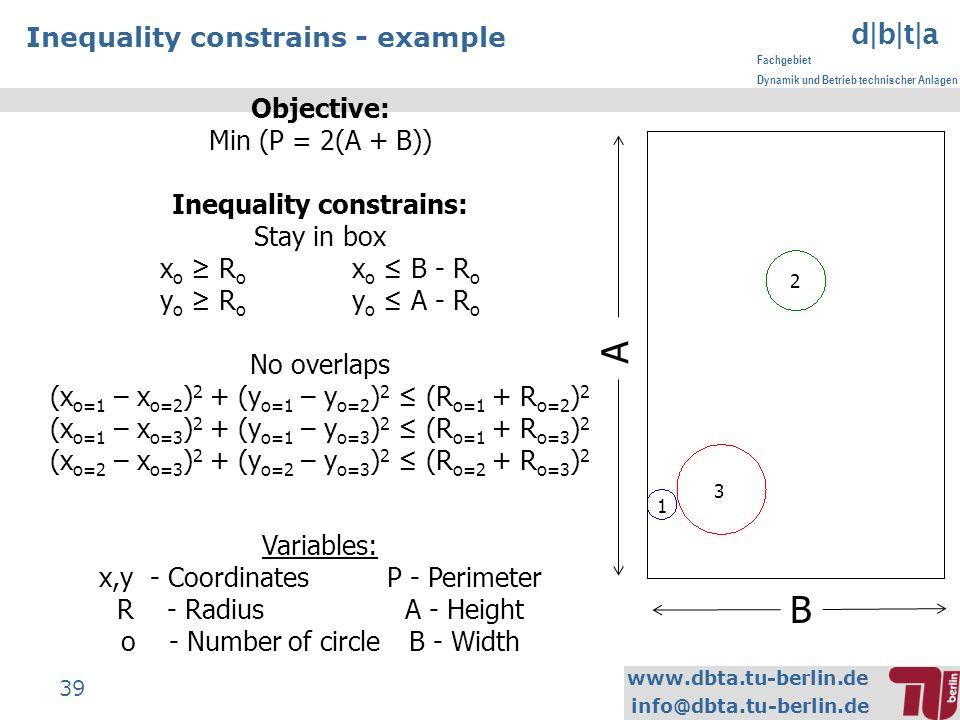 www.dbta.tu-berlin.de info@dbta.tu-berlin.de d|b|t|a Fachgebiet Dynamik und Betrieb technischer Anlagen 39 Inequality constrains - example B A 1 2 3 Objective: Min (P = 2(A + B)) Inequality constrains: Stay in box x o R o x o B - R o y o R o y o A - R o No overlaps (x o=1 – x o=2 ) 2 + (y o=1 – y o=2 ) 2 (R o=1 + R o=2 ) 2 (x o=1 – x o=3 ) 2 + (y o=1 – y o=3 ) 2 (R o=1 + R o=3 ) 2 (x o=2 – x o=3 ) 2 + (y o=2 – y o=3 ) 2 (R o=2 + R o=3 ) 2 Variables: x,y - CoordinatesP - Perimeter R - RadiusA - Height o - Number of circleB - Width