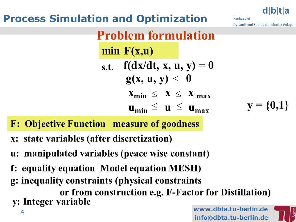 www.dbta.tu-berlin.de info@dbta.tu-berlin.de d|b|t|a Fachgebiet Dynamik und Betrieb technischer Anlagen 4 Process Simulation and Optimization Problem formulation F: Objective Function measure of goodness min F(x,u) s.t.