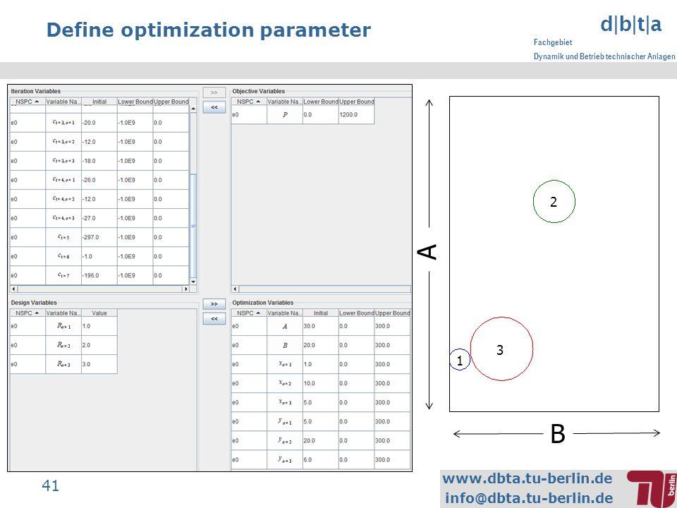 www.dbta.tu-berlin.de info@dbta.tu-berlin.de d|b|t|a Fachgebiet Dynamik und Betrieb technischer Anlagen 41 Define optimization parameter A 1 2 3 B