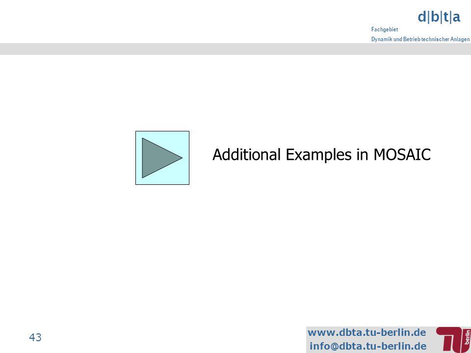 www.dbta.tu-berlin.de info@dbta.tu-berlin.de d|b|t|a Fachgebiet Dynamik und Betrieb technischer Anlagen 43 Additional Examples in MOSAIC