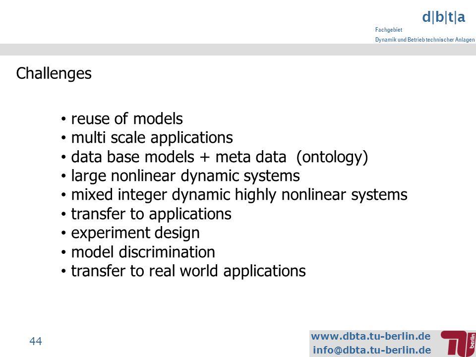 www.dbta.tu-berlin.de info@dbta.tu-berlin.de d|b|t|a Fachgebiet Dynamik und Betrieb technischer Anlagen 44 Challenges reuse of models multi scale appl