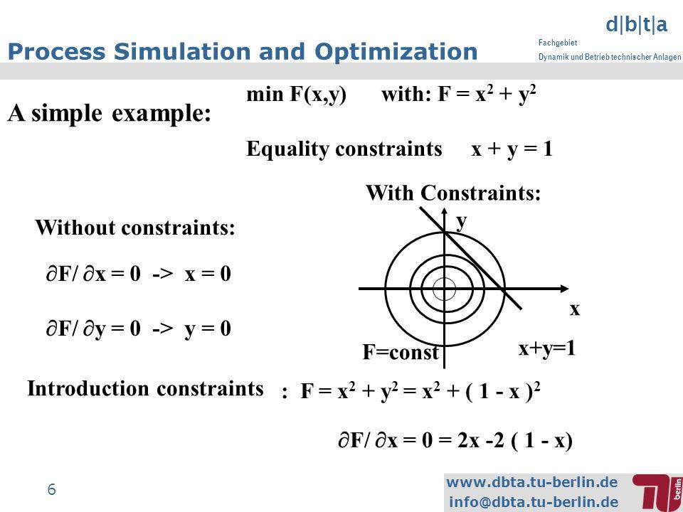 www.dbta.tu-berlin.de info@dbta.tu-berlin.de d|b|t|a Fachgebiet Dynamik und Betrieb technischer Anlagen 6 Process Simulation and Optimization A simple example: min F(x,y) with: F = x 2 + y 2 Equality constraints x + y = 1 F/ x = 0 -> x = 0 F/ y = 0 -> y = 0 With Constraints: x y F=const x+y=1 : F = x 2 + y 2 = x 2 + ( 1 - x ) 2 F/ x = 0 = 2x -2 ( 1 - x) Without constraints: Introduction constraints