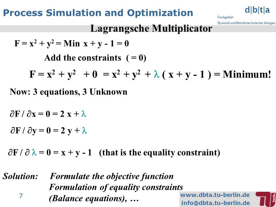 www.dbta.tu-berlin.de info@dbta.tu-berlin.de d|b|t|a Fachgebiet Dynamik und Betrieb technischer Anlagen 7 7 Process Simulation and Optimization Lagran