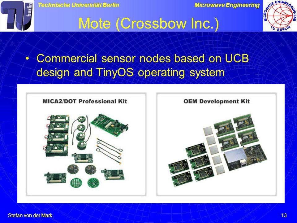Stefan von der Mark Technische Universität BerlinMicrowave Engineering 13 Mote (Crossbow Inc.) Commercial sensor nodes based on UCB design and TinyOS operating system