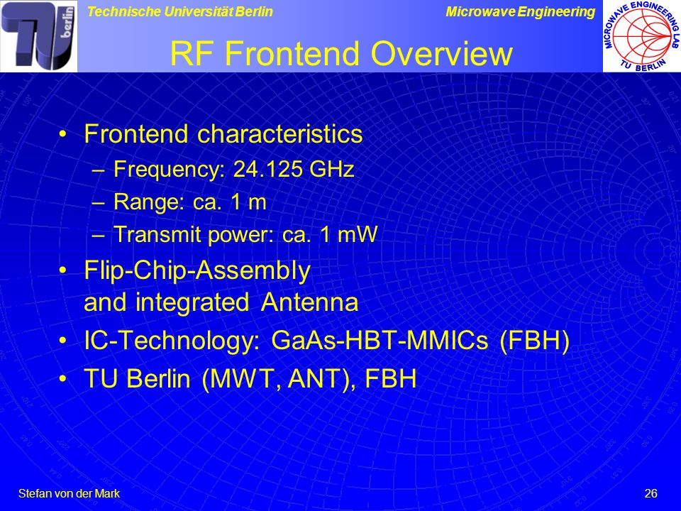 Stefan von der Mark Technische Universität BerlinMicrowave Engineering 26 RF Frontend Overview Frontend characteristics –Frequency: 24.125 GHz –Range: ca.