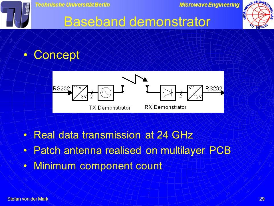 Stefan von der Mark Technische Universität BerlinMicrowave Engineering 29 Baseband demonstrator Concept Real data transmission at 24 GHz Patch antenna realised on multilayer PCB Minimum component count