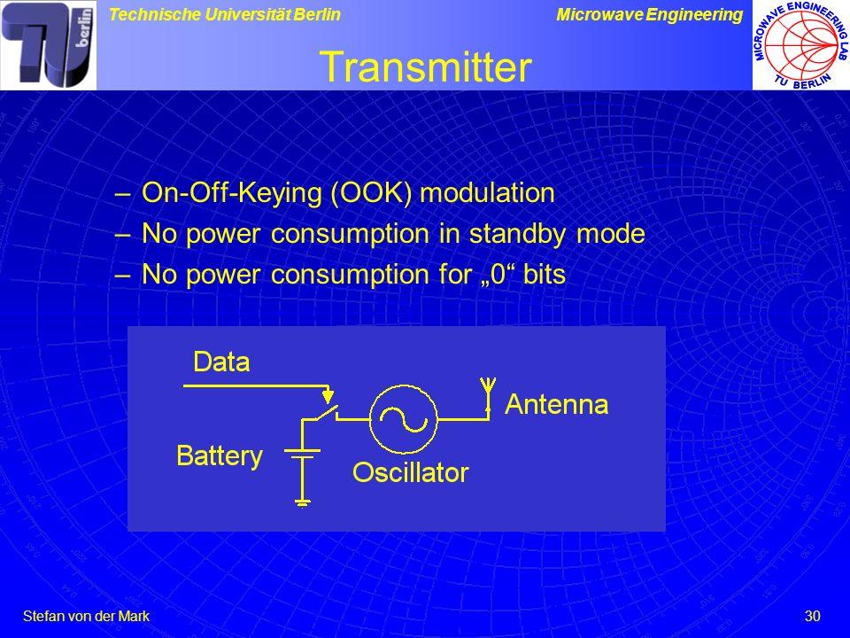 Stefan von der Mark Technische Universität BerlinMicrowave Engineering 30 Transmitter –On-Off-Keying (OOK) modulation –No power consumption in standby mode –No power consumption for 0 bits