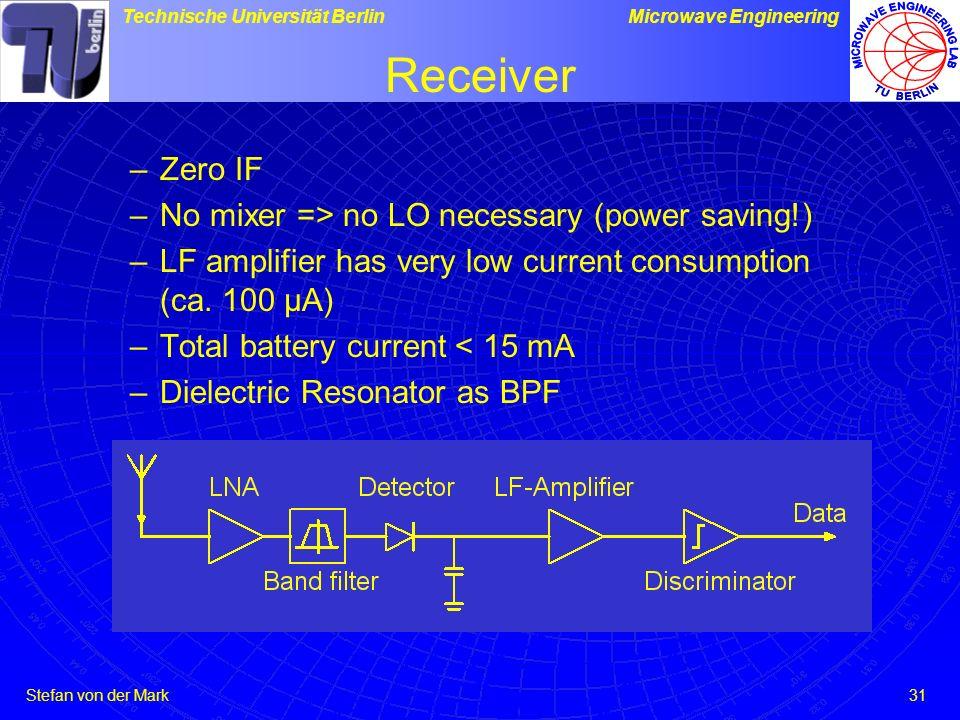 Stefan von der Mark Technische Universität BerlinMicrowave Engineering 31 Receiver –Zero IF –No mixer => no LO necessary (power saving!) –LF amplifier has very low current consumption (ca.