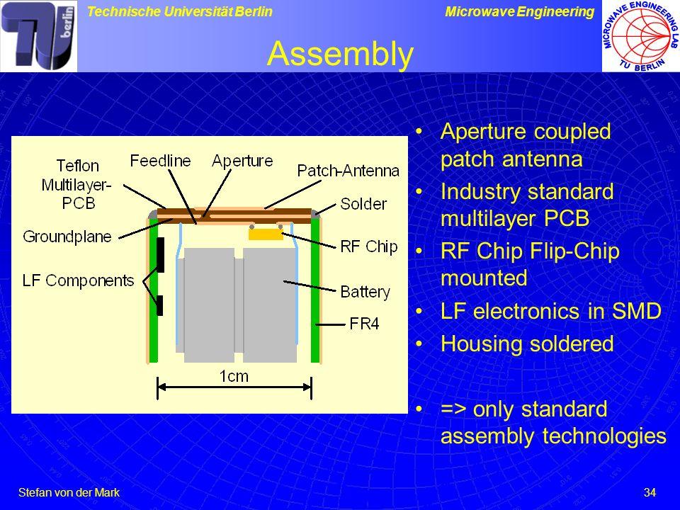 Stefan von der Mark Technische Universität BerlinMicrowave Engineering 34 Assembly Aperture coupled patch antenna Industry standard multilayer PCB RF Chip Flip-Chip mounted LF electronics in SMD Housing soldered => only standard assembly technologies