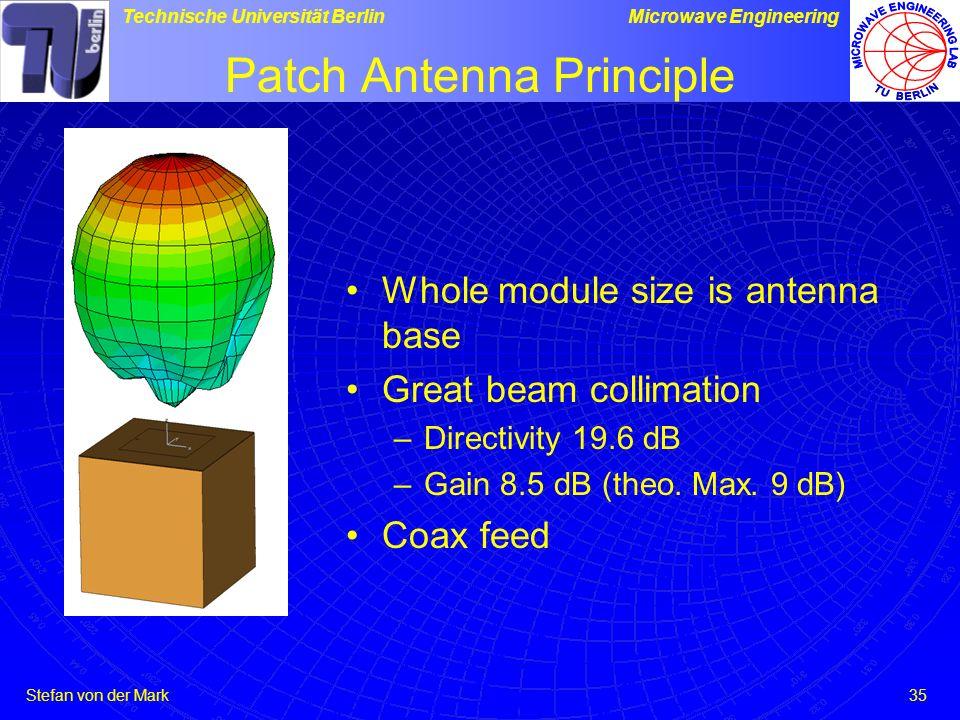 Stefan von der Mark Technische Universität BerlinMicrowave Engineering 35 Patch Antenna Principle Whole module size is antenna base Great beam collimation –Directivity 19.6 dB –Gain 8.5 dB (theo.