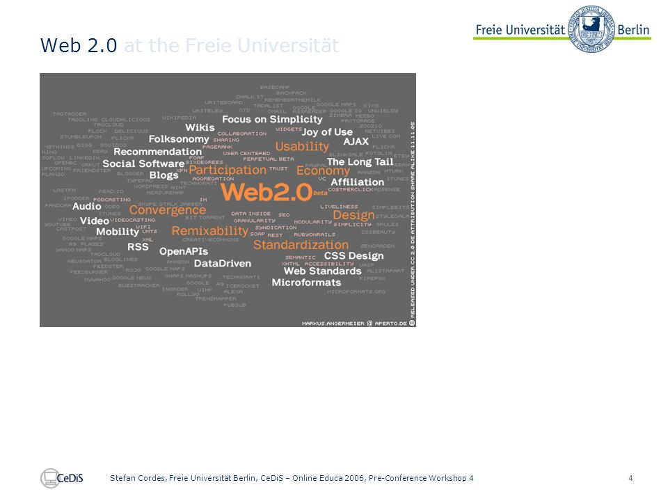 4 Stefan Cordes, Freie Universität Berlin, CeDiS – Online Educa 2006, Pre-Conference Workshop 4 Web 2.0 at the Freie Universität
