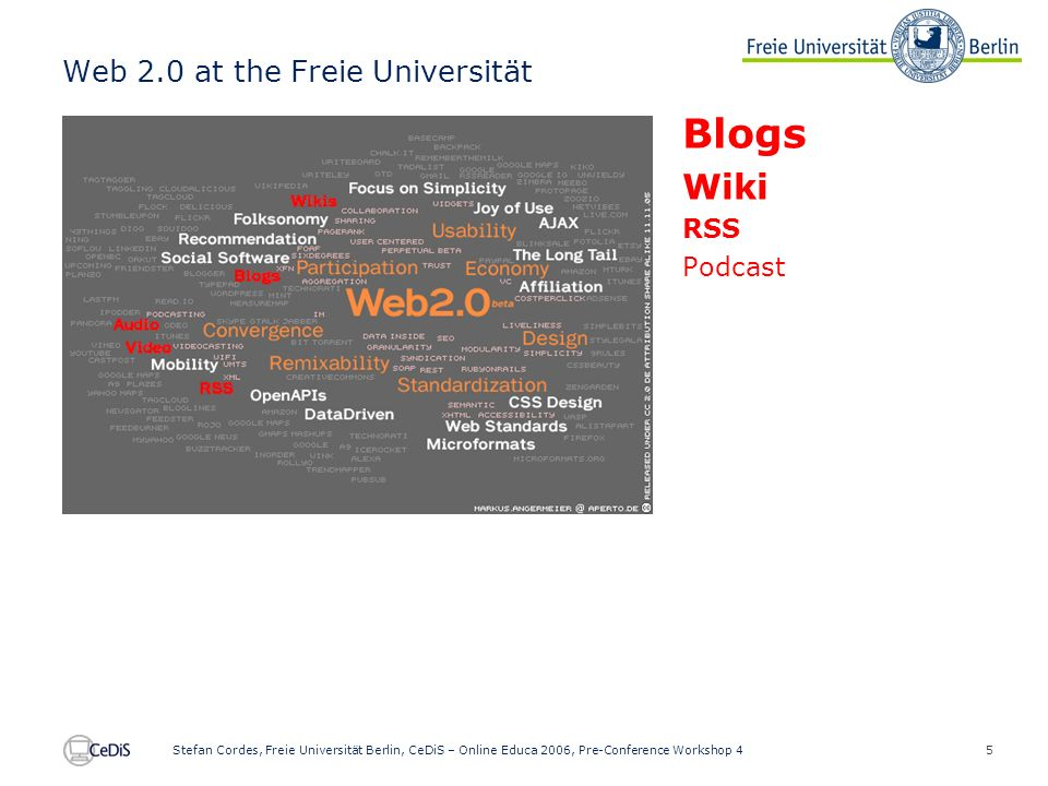 5 Stefan Cordes, Freie Universität Berlin, CeDiS – Online Educa 2006, Pre-Conference Workshop 4 Web 2.0 at the Freie Universität Blogs Wiki RSS Podcast