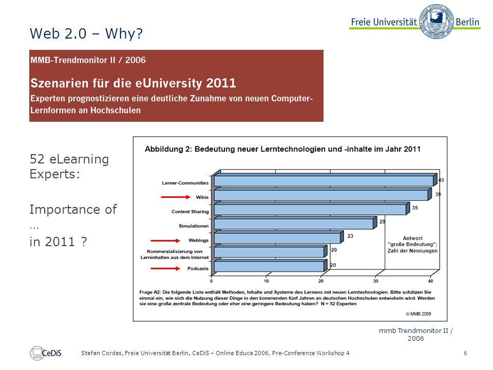 6 Stefan Cordes, Freie Universität Berlin, CeDiS – Online Educa 2006, Pre-Conference Workshop 4 Web 2.0 – Why.