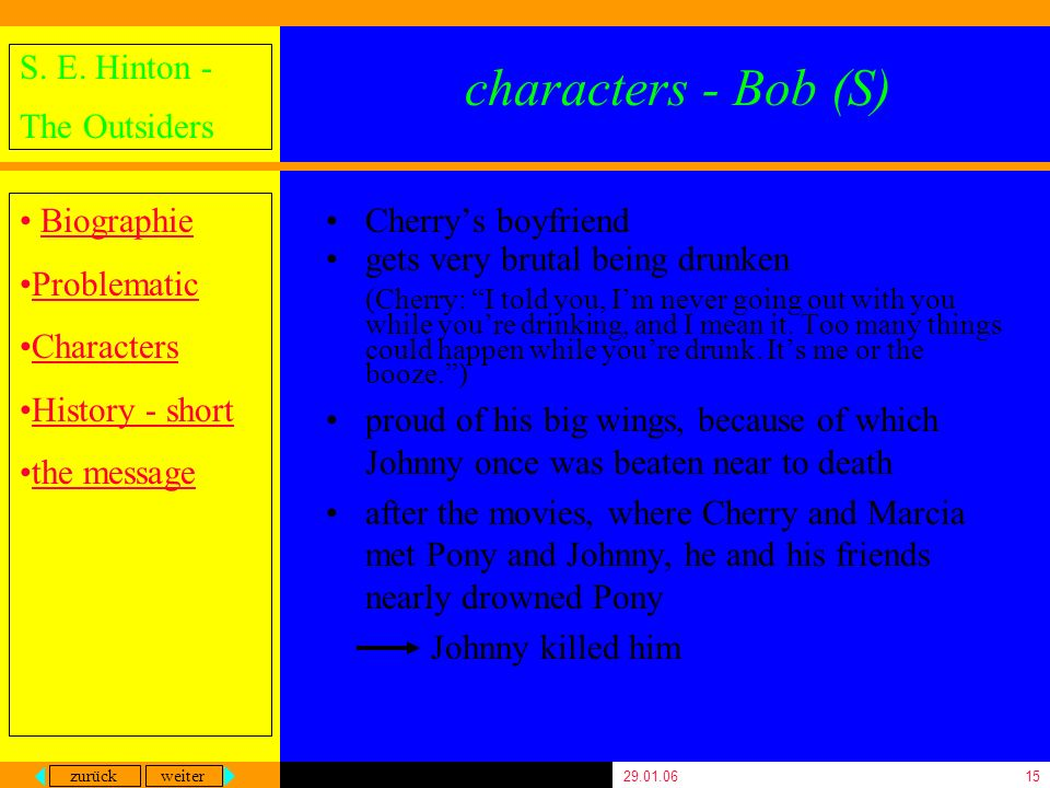 zurück weiter S. E. Hinton - The Outsiders Biographie Problematic Characters History - short the message 29.01.0615 characters - Bob (S) Cherrys boyfr
