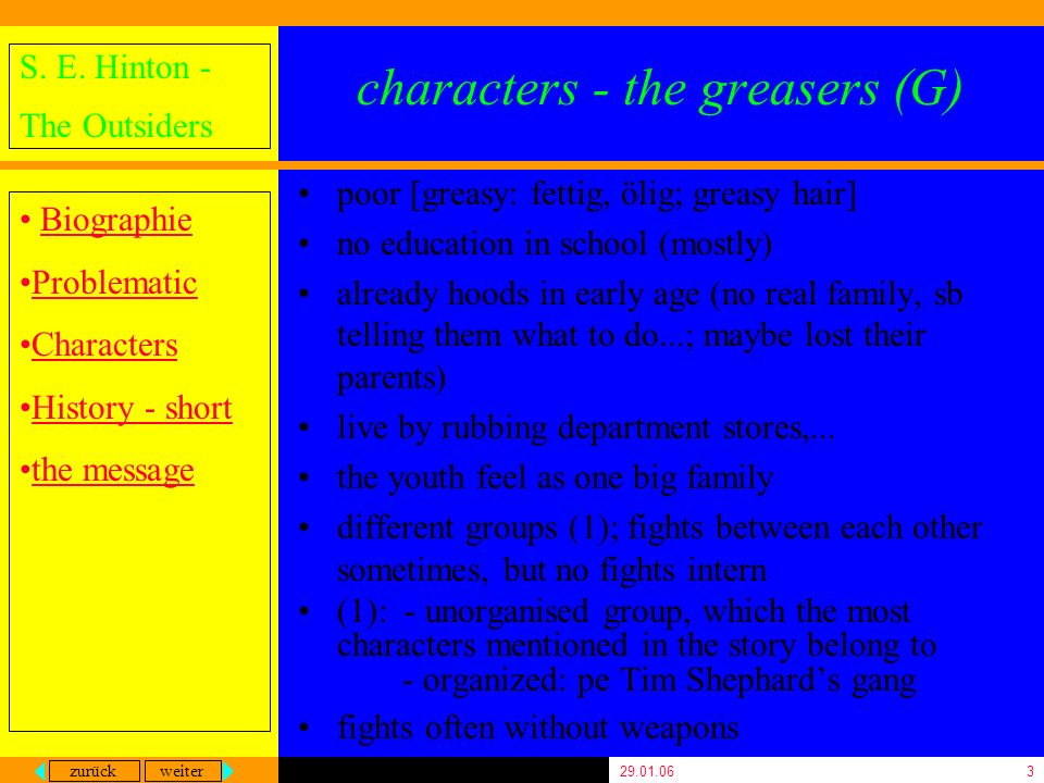 zurück weiter S. E. Hinton - The Outsiders Biographie Problematic Characters History - short the message 29.01.063 characters - the greasers (G) poor