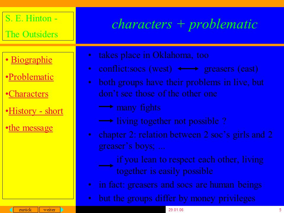 zurück weiter S. E. Hinton - The Outsiders Biographie Problematic Characters History - short the message 29.01.065 characters + problematic takes plac