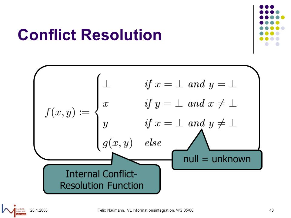 Felix Naumann, VL Informationsintegration, WS 05/0648 Conflict Resolution null = unknown Internal Conflict- Resolution Function