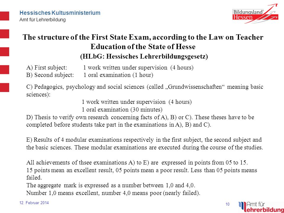 10 Hessisches Kultusministerium Amt für Lehrerbildung 12. Februar 2014 The structure of the First State Exam, according to the Law on Teacher Educatio