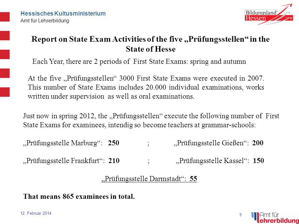 9 Hessisches Kultusministerium Amt für Lehrerbildung 12. Februar 2014 Report on State Exam Activities of the five Prüfungsstellen in the State of Hess
