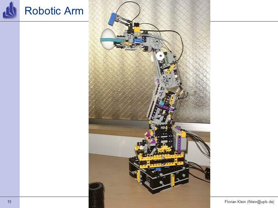 15Florian Klein (fklein@upb.de) Robotic Arm