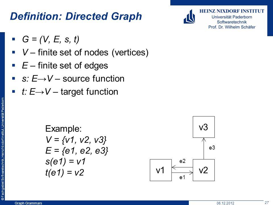 © Fachgebiet Softwaretechnik, Heinz Nixdorf Institut, Universität Paderborn 27 Graph Grammars06.12.2012 Definition: Directed Graph G = (V, E, s, t) V – finite set of nodes (vertices) E – finite set of edges s: EV – source function t: EV – target function v2v1 v3 e3 e2 e1 Example: V = {v1, v2, v3} E = {e1, e2, e3} s(e1) = v1 t(e1) = v2