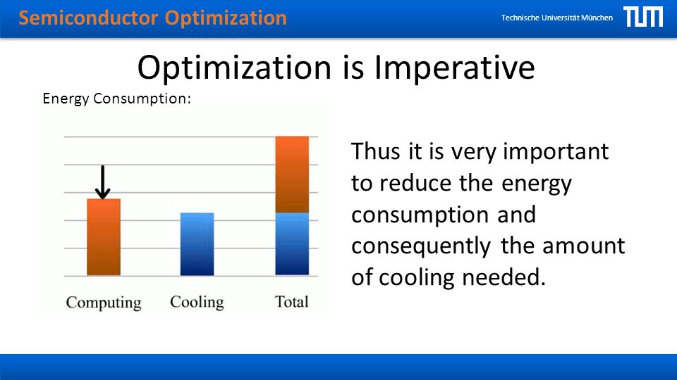 Semiconductor Optimization Technische Universität München Optimization is Imperative Thus it is very important to reduce the energy consumption and consequently the amount of cooling needed.