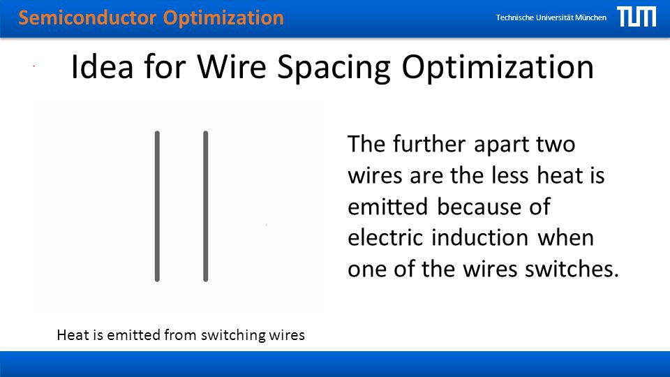 Semiconductor Optimization Technische Universität München Idea for Wire Spacing Optimization The further apart two wires are the less heat is emitted because of electric induction when one of the wires switches.
