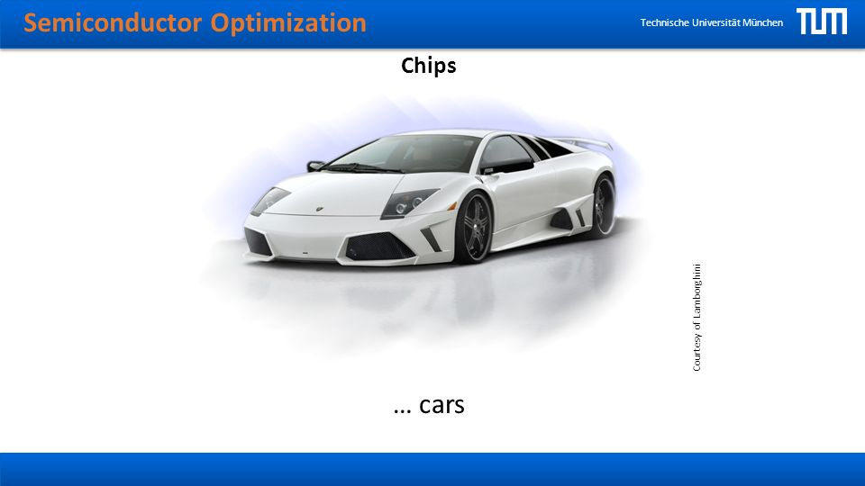 Semiconductor Optimization Technische Universität München Outlook Special algorithms can be developed that deal with additional information like groups of wires that always switch at the same time or with a certain probability.